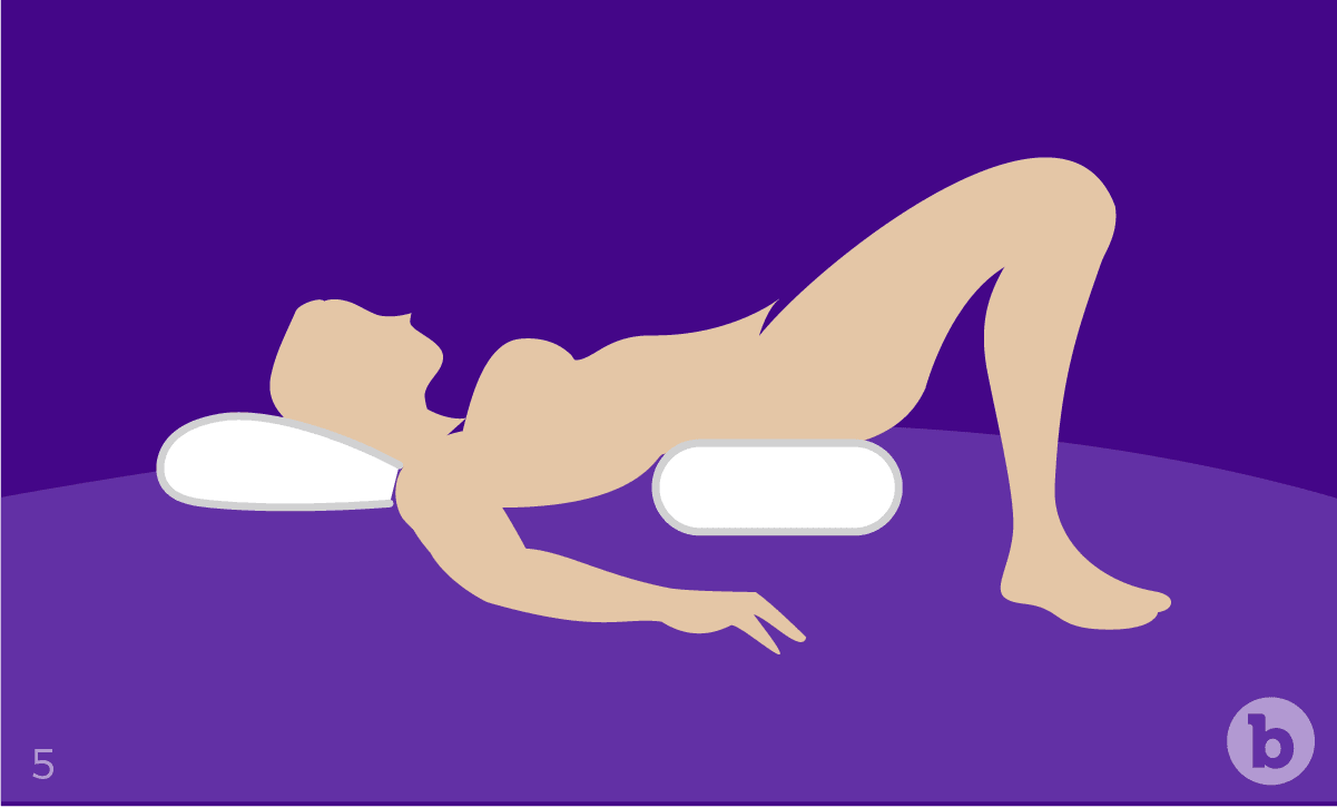 Facing your partner whilst supporting your body using pillows can be an intimate position for anal sex