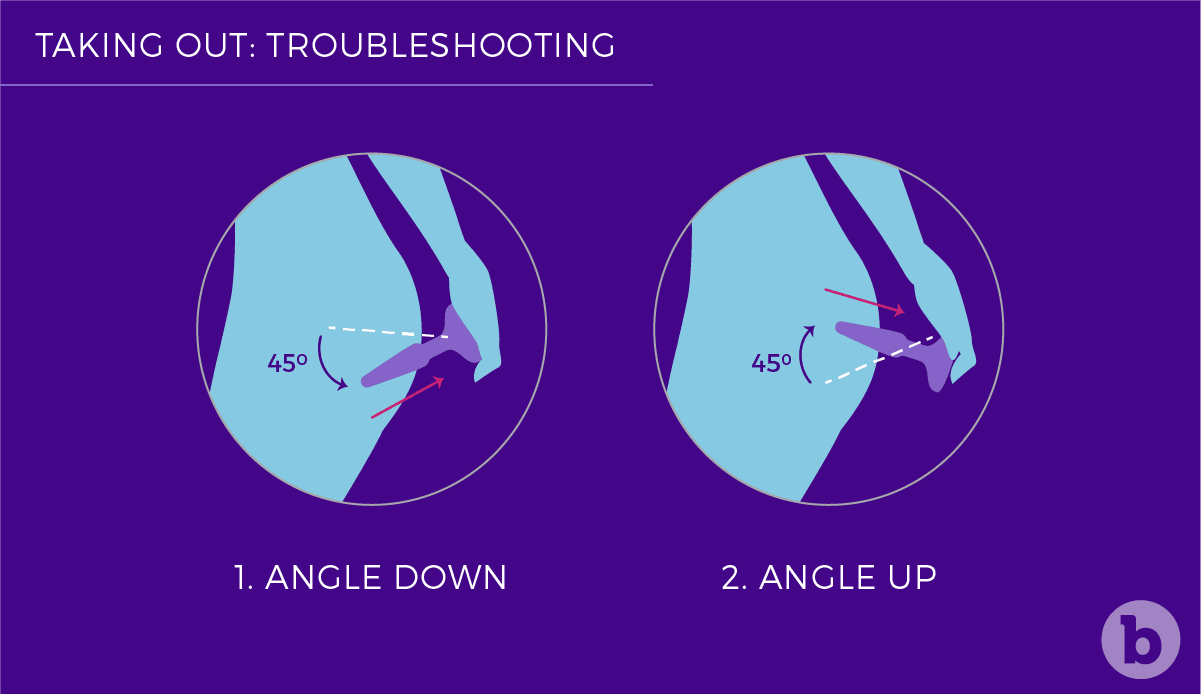 To remove a butt plug with ease, angle the toy 45 degrees in an upward or downward direction.