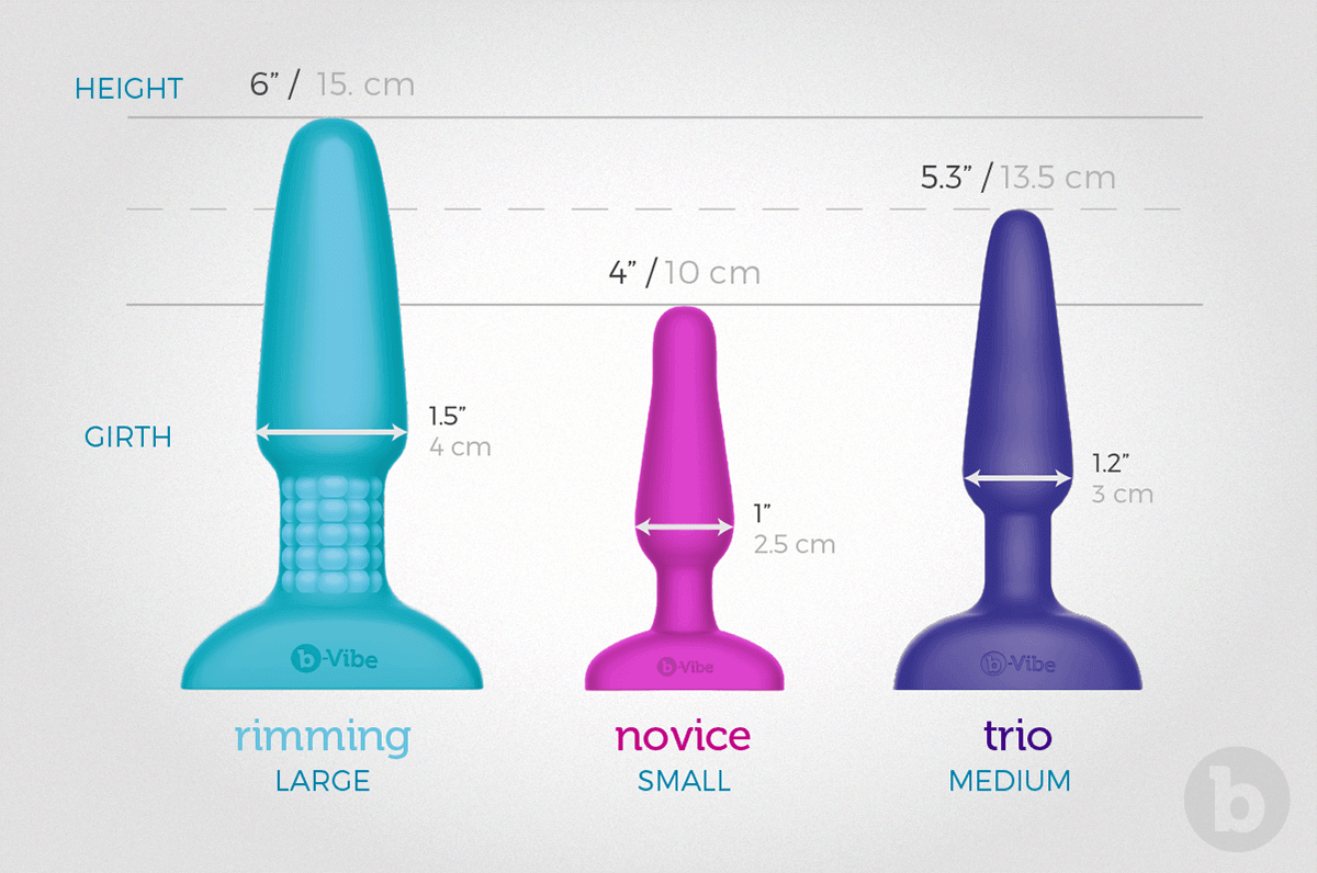 b-Vibe collection of premium vibrating butt plugs comes in three different sizes; small, medium and large