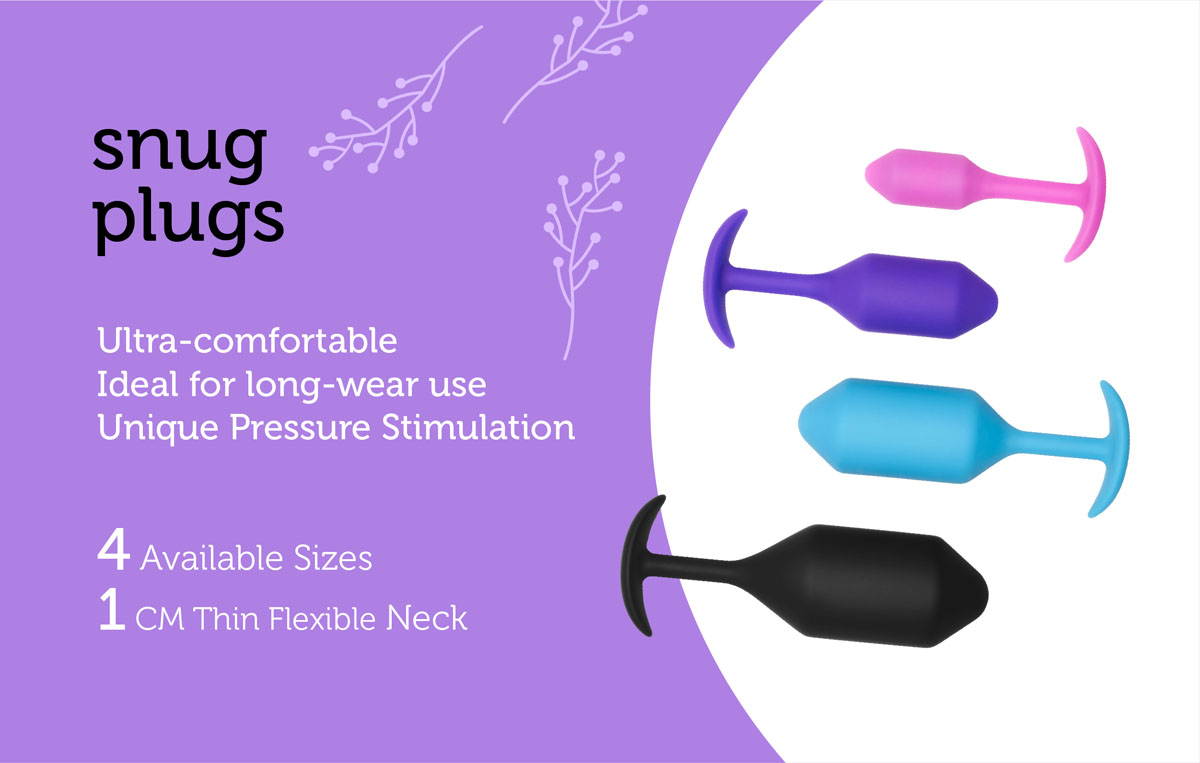 The b-Vibe Snug Plugs are a collection of weighted butt plugs for extender wear