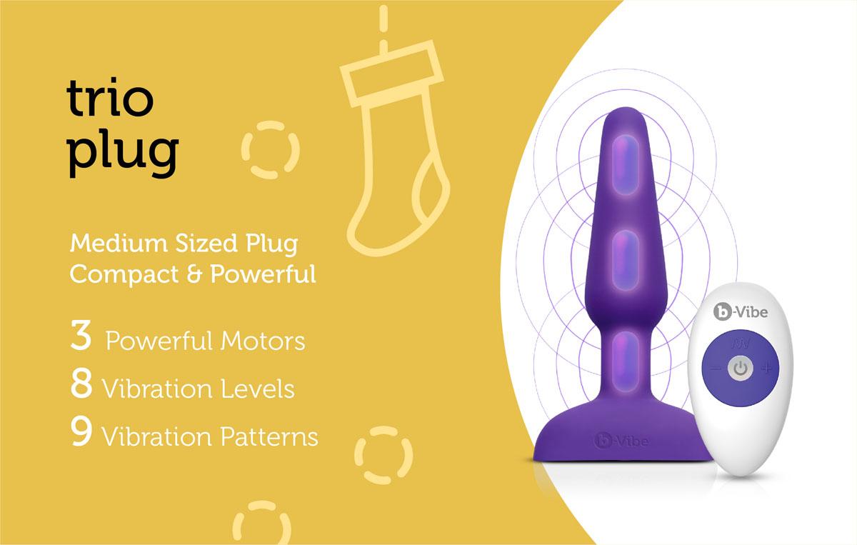 The b-Vibe Trio Plug is an intermediate butt plug with three vibrating motors