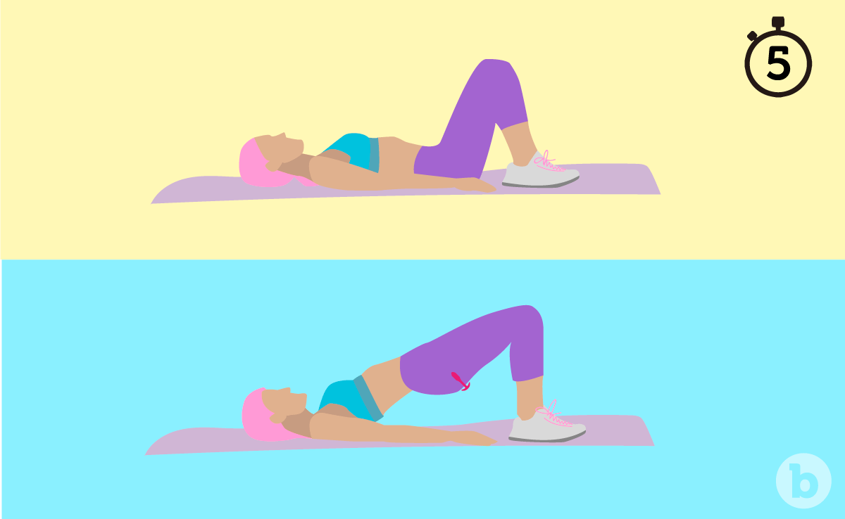 Two illustrations of a woman doing kegel exercises on a yoga mat with a butt plug on
