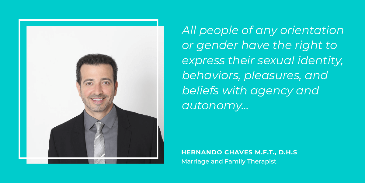 Hernando Chaves thinks sexual freedom means All people of any orientation or gender have the right to express their sexual identity, behaviors, pleasures, and beliefs with agency and autonomy...