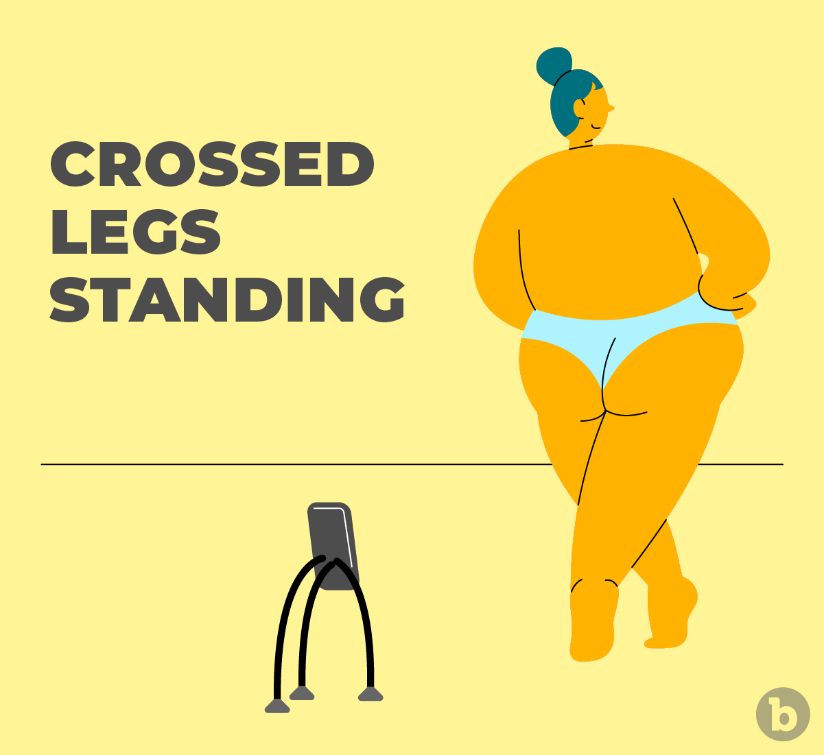 The crossed legs standing pose emphasizes your hips to give you an hourglass look