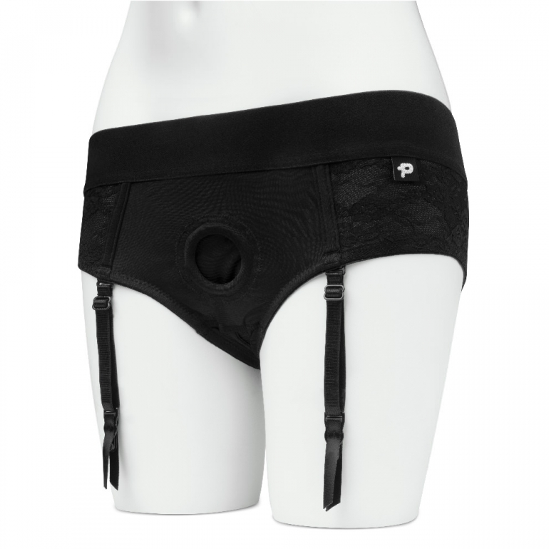 Unisex Crotchless Open-Back Lace Harness Briefs For Pegging