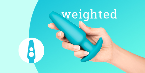 This b-Vibe Anal Training Kit includes a large weighted butt plug