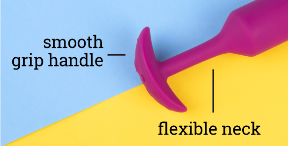 b-Vibe Vibrating Snug Plugs feature a smooth handle and flexible neck for total comfort